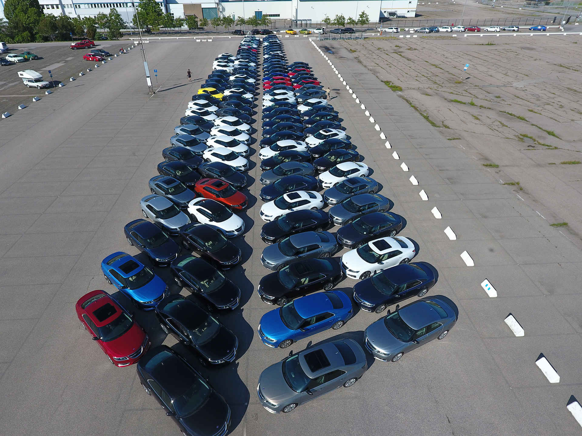 Saab cars lined up seen from above