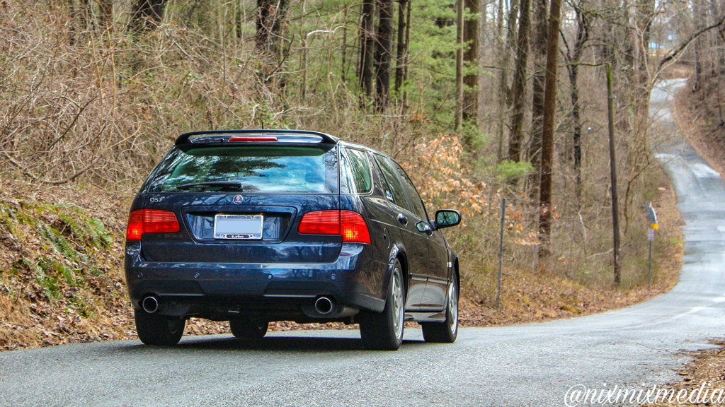 Saab 9-5 on a small back road